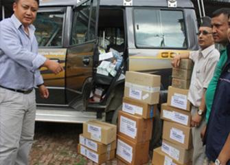 Handing Over Essential Medicine to Tamakoshi Cooperative Hospital