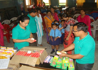Handing over First-Aid Box to the school in Bhaktapur
