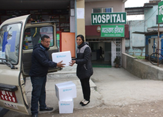 Essential medicines handed over to Mother Land Hospital, Bhaktapur